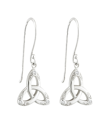 S/S CRYSTAL TRINITY KNOT DROP EARRINGS