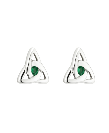 S/S GREEN CRYSTAL TRINITY KNOT STUD EARRINGS