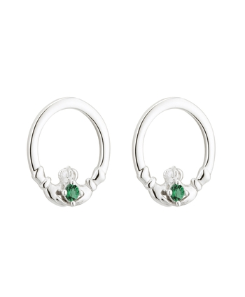 large claddagh stud jewelry sterling emerald earrings collections silver isle