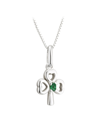 S/S GREEN CRYSTAL SHAMROCK PENDANT (BOX)